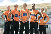 (From Left to Right) Natasha Farrant, Suzie Bates, Charlotte Edwards, Hayley Matthews, Danni Wyatt during the Southern Vipers Press Day 2017 at the Ageas Bowl, Southampton, United Kingdom on 31 July 2017. Photo by David Vokes.