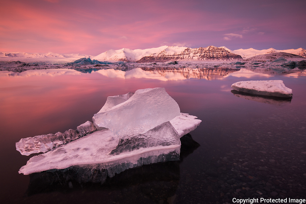 February 01 - Stunning afternoon light at Jökulsárlón, called the glacier lagoon with Mt.Fellsfjall in the background.<br />