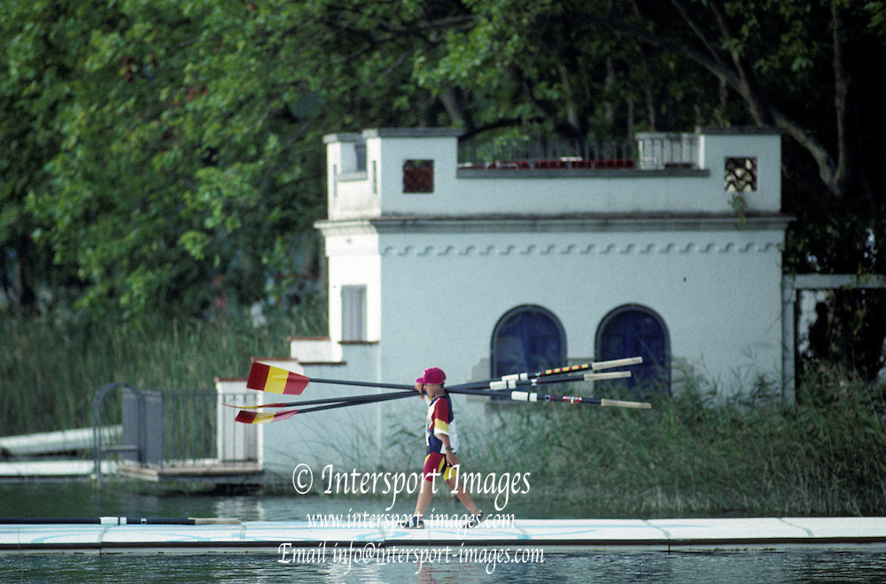 Barcelona, SPAIN. Iberian/Castillian architecture, building surrounding the Banyoles Lake1992 Olympic Rowing Regatta Lake Banyoles, Catalonia [Mandatory Credit Peter Spurrier/ Intersport Images]