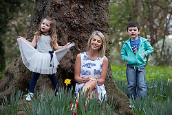 Repro Free: 09/04/2014 Model mum, Pippa O'Connor, pictured with Ella May Melia and Daniel Braide (both age 4) as they launch the new kids range at Heatons. The new collection is currently available from all Heatons stores and online www.heatonsstores.com Picture Andres Poveda