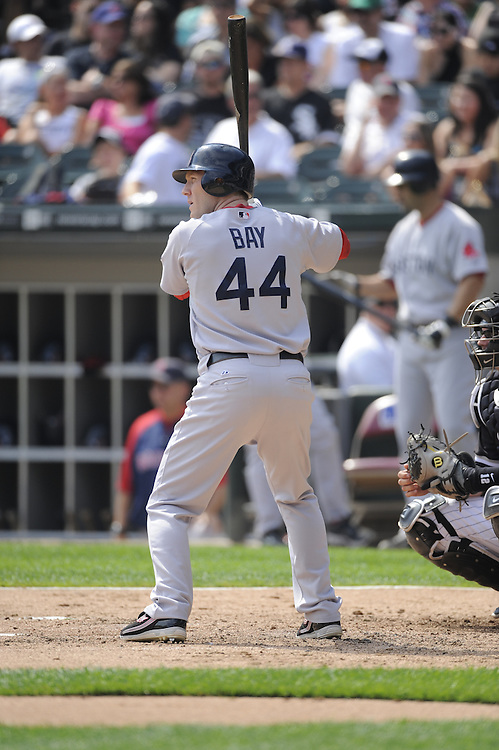 CHICAGO - SEPTEMBER 7:  Jason Bay #44 of the Boston Red Sox bats against the Chicago White Sox on September 7, 2009 at U.S. Cellular Field in Chicago, Illinois.  The White Sox defeated the Red Sox 5-1.  (Photo by Ron Vesely)