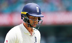England's Stuart Broad after being dismissed during day five of the Ashes Test match at Sydney Cricket Ground.
