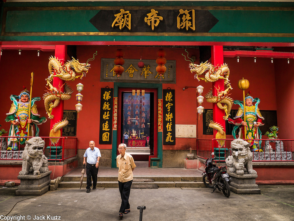 20 DECEMBER 2012 - KUALA LUMPUR, MALAYSIA:  The entrance to the Sin Sze Si Ya Temple, also known as the Sze Yah Temple, in Kuala Lumpur, Malaysia. The Sin Sze Si Ya Temple is the temple built by Yap Ah Loy, one of the Chinese founders of Kuala Lumpur. It is built according to Feng Shui principles and as such is not in alignment with other buildings in the neighborhood or the city grid. It is one of the oldest Chinese temples in Kuala Lumpur.  PHOTO BY JACK KURTZ