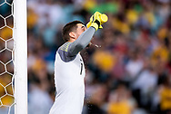 SYDNEY, AUSTRALIA - NOVEMBER 20: Australian goalkeeper Mathew Ryan (1) has a drink during a stoppage at the international soccer match between Australia and Lebanon at ANZ Stadium in NSW, Australia. on November 20, 2018. (Photo by Speed Media/Icon Sportswire)