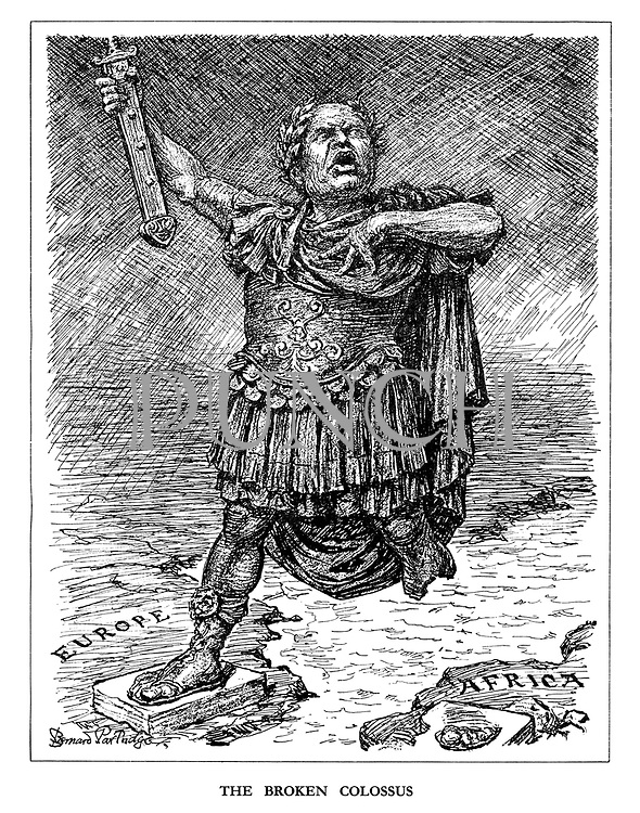 The Broken Colossus. (Mussolini as a Colossus with a broken leg over Africa and one leg left in Europe)