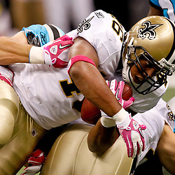 October 3, 2010; New Orleans, LA, USA; New Orleans Saints running back Ladell Betts(46) runs against the Carolina Panthers during the first quarter at the Louisiana Superdome. Mandatory Credit: Derick E. Hingle