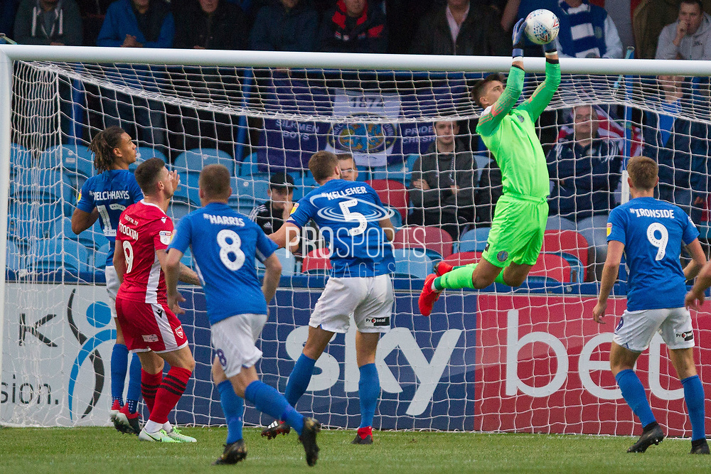 Morecambe manager Jim Bentley  goal keeper in action during the EFL Sky Bet League 2 match between Macclesfield Town and Morecambe at Moss Rose, Macclesfield, United Kingdom on 20 August 2019.