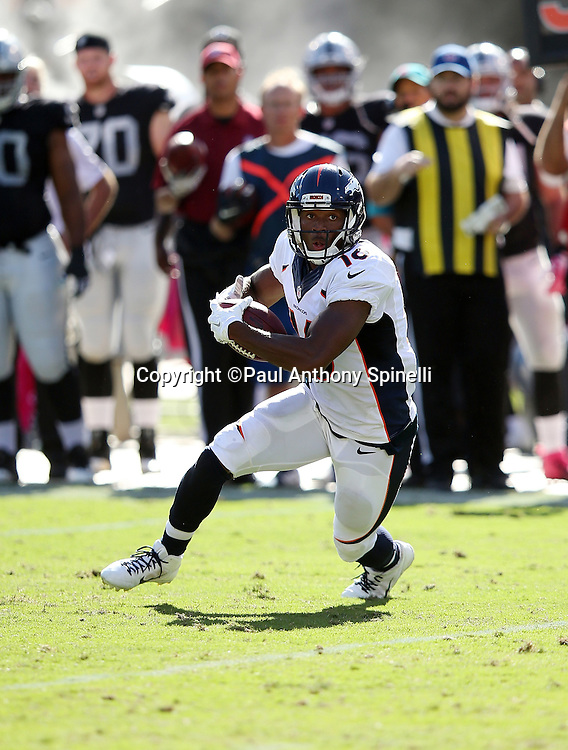 Denver Broncos wide receiver Bennie Fowler (16) runs with the ball after catching a third quarter pass during the 2015 NFL week 5 regular season football game against the Oakland Raiders on Sunday, Oct. 11, 2015 in Oakland, Calif. The Broncos won the game 16-10. (©Paul Anthony Spinelli)