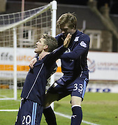 Craig Wighton congratulates Jim McAlister after the opening goal - Raith Rovers v Dundee,  SPFL Championship at Starks Park<br /> <br />  - &copy; David Young - www.davidyoungphoto.co.uk - email: davidyoungphoto@gmail.com