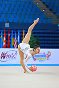 Liu Jiahui during qualifying at ball in Pesaro World Cup at Adriatic Arena on 10 April 2015. Jiahu is a Chinese individual rhythmic gymnast  born March 31, 1996 in Handan, China.