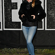 Meredith Ostrom join Sleep Out fundraiser to help homeless young people at Greenwich Peninsula Quay on 15 November 2018, London, UK.