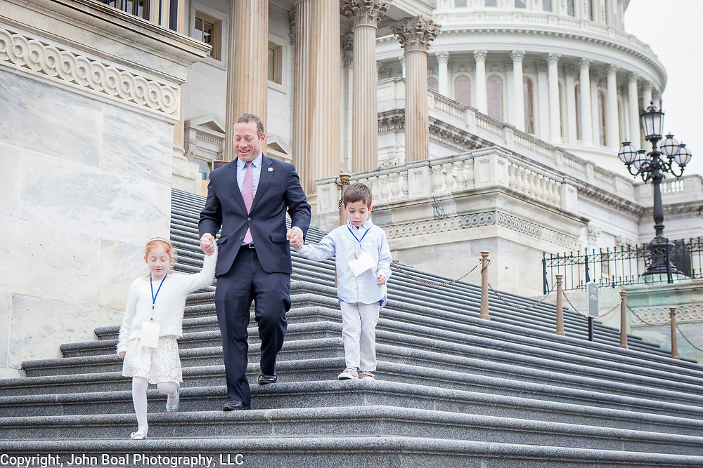 Representative Josh Gottheimer (D-NJ, 15) leaves the U.S. Capitol with his daughter, Ellie and son, Ben, on his way to his new office on Wednesday January 3, 2017.  Rep. Gottheimer was officially sworn into the House of Representatives earlier in the day. For The (NJ) Record