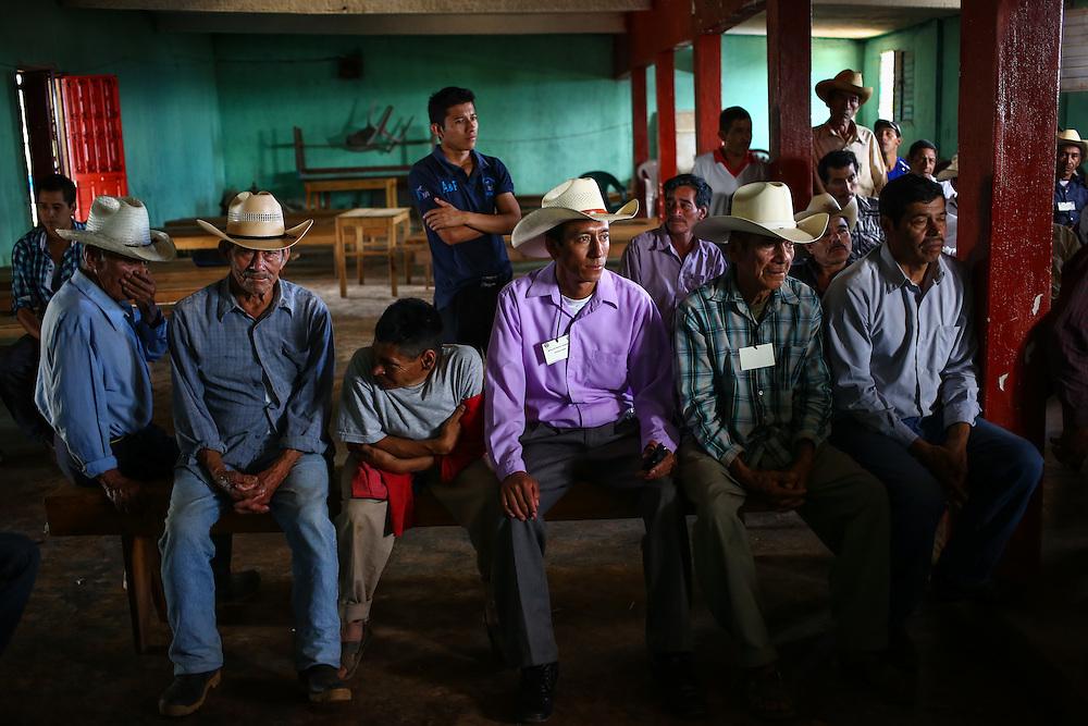 Coffee farmers with farms suffering from coffee rust fungus meet with a team from Starbucks in Union Buenavista, Ejido, Chicomuselo, Chiapas, Mexico. (Joshua Trujillo, Starbucks)