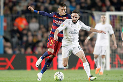 02.04.2016, Camp Nou, Barcelona, ESP, Primera Division, FC Barcelona vs Real Madrid, 31. Runde, im Bild FC Barcelona's Neymar Jr (l) and Real Madrid's Daniel Carvajal // during the Spanish Primera Division 31th round match between Athletic Club and Real Madrid at the Camp Nou in Barcelona, Spain on 2016/04/02. EXPA Pictures © 2016, PhotoCredit: EXPA/ Alterphotos/ Acero<br /> <br /> *****ATTENTION - OUT of ESP, SUI*****