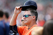 DETROIT, MI - MAY 21: Houston Astros manager A.J. Hinch #14 looks on during the game against the Detroit Tigers at Comerica Park on May 21, 2015 in Detroit, Michigan. The Tigers defeated the Astros 6-5 in 11 innings. (Photo by Joe Robbins) *** Local Caption *** A.J. Hinch