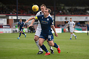 14th September 2019; Dens Park, Dundee, Scotland; Scottish Championship, Dundee Football Club versus Alloa Athletic; Paul McGowan of Dundee challenges for the ball with Andy Graham of Alloa Athletic
