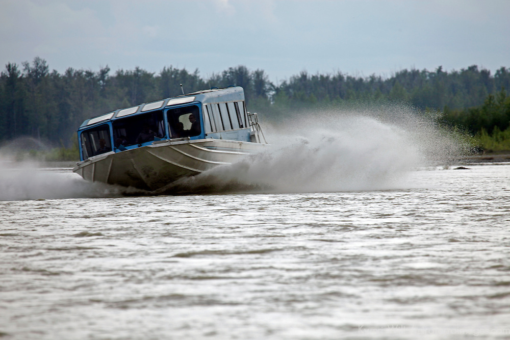 North America, USA, Alaska. Jet Boat Tour on the Talkeetna River.