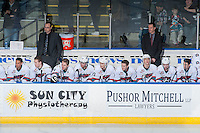 KELOWNA, CANADA - FEBRUARY 27: Coaches Kris Mallette and Brad Ralph stand on the bench against the Spokane Chiefs on February 27, 2016 at Prospera Place in Kelowna, British Columbia, Canada.  (Photo by Marissa Baecker/Shoot the Breeze)  *** Local Caption *** Kris Mallette; Brad Ralph;