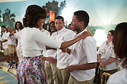 05.JUNE.2013. WASHINGTON D.C.<br /> <br /> FIRST LADY MICHELLE OBAMA TALKS WITH STUDENTS FROM WILLIAM R. HARPER HIGH SCHOOL IN CHICAGO, ILL. , IN THE DIPLOMATIC RECEPTION ROOM OF THE WHITE HOUSE, JUNE 5, 2013.<br /> <br /> BYLINE: EDBIMAGEARCHIVE.CO.UK<br /> <br /> *THIS IMAGE IS STRICTLY FOR UK NEWSPAPERS AND MAGAZINES ONLY*<br /> *FOR WORLD WIDE SALES AND WEB USE PLEASE CONTACT EDBIMAGEARCHIVE - 0208 954 5968*