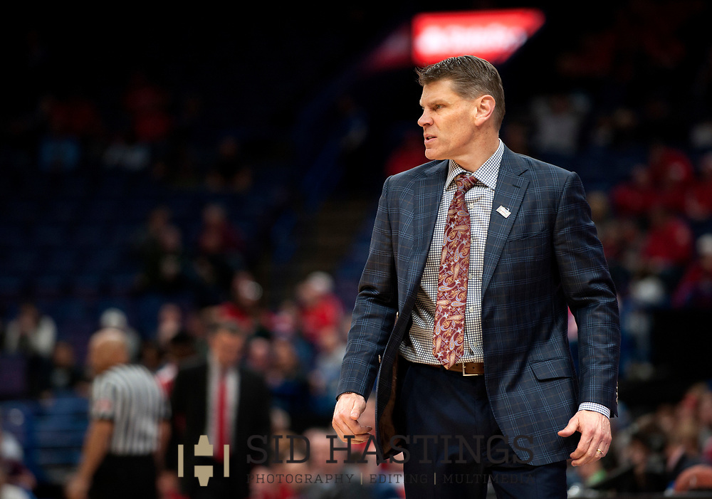 Loyola University Chicago basketball coach Porter Moser expresses concerns about his team's play against Bradley University during the semifinals of the Missouri Valley Conference men's basketball tournament at Scottrade Center in St. Louis Saturday, March 3, 2018. LUC won, 62-54. Photo © copyright 2018 Sid Hastings.