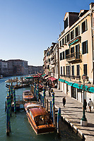 rialto bridge area in the beautiful city of venice in italy