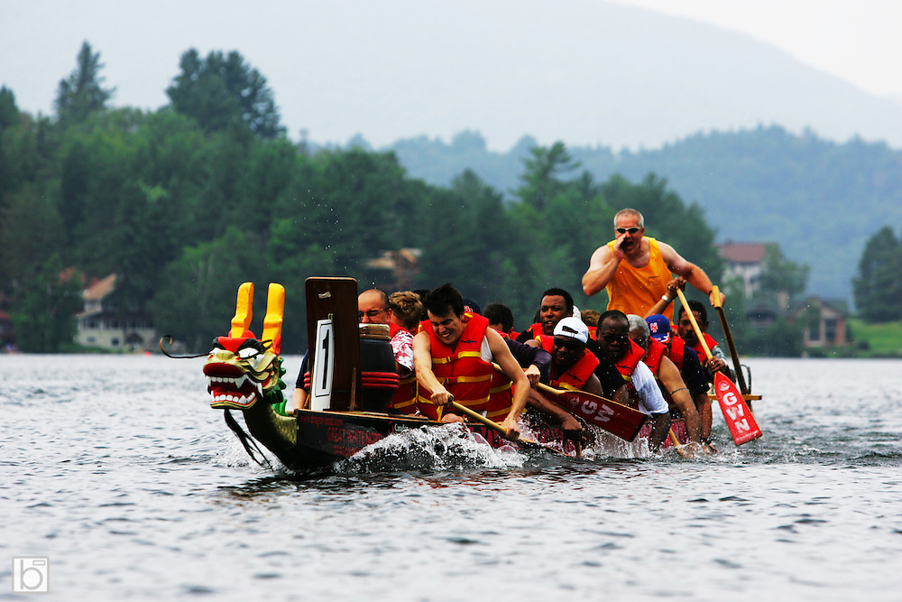 July 18, 2005: Dragon Boat Races for corporate team building on Mirror Lake in the Village of Lake Placid, N.Y.  (Photo/Todd Bissonette - www.rtbphoto.com)