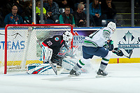 KELOWNA, CANADA - OCTOBER 10: Roman Basran #30 of the Kelowna Rockets makes a second period save on a shot by Matthew Wedman #21 of the Seattle Thunderbirds on October 10, 2018 at Prospera Place in Kelowna, British Columbia, Canada.  (Photo by Marissa Baecker/Shoot the Breeze)  *** Local Caption ***