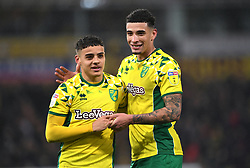 Norwich City's Ben Godfrey (right) and Max Aarons celebrate victory after the Sky Bet Championship match at Carrow Road, Norwich.