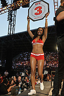 "ABU DHABI, UNITED ARAB EMIRATES, APRIL 10, 2010: Chandella Powell walks on the cage apron between rounds during ""UFC 112: Invincible"" inside Ferari World, Abu Dhabi on April 10, 2010."
