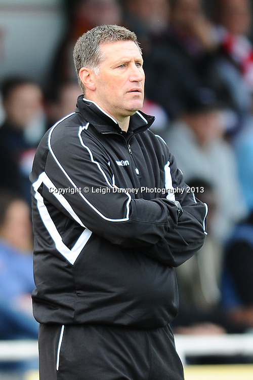 Jimmy McFarlane Manager of AFC Hornchurch looks on from the side line. AFC Hornchurch v Wealdstone at The Stadium, Bridge Avenue, Upminster, Essex. FA Cup 3rd Qualifying Round. 12th October 2013. © Leigh Dawney Photography 2013.