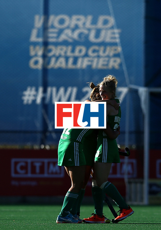 JOHANNESBURG, SOUTH AFRICA - JULY 10:  Ireland players celebrate scoring their second goal during day 2 of the FIH Hockey World League Women's Semi Final Pool A match between Germany and Ireland at Wits University on July 10, 2017 in Johannesburg, South Africa.  (Photo by Jan Kruger/Getty Images for FIH)