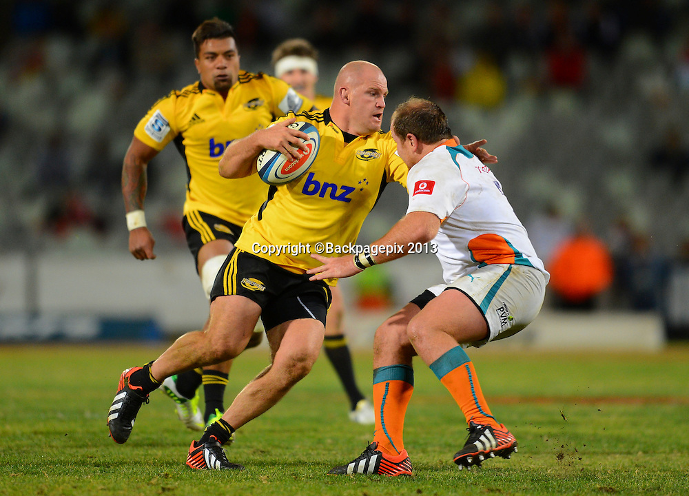 Ben Franks of the Hurricanes during the Super Rugby match between the Cheetahs and the Hurricanes at the Free State Stadium in Bloemfontein on May 10, 2013©Barry Aldworth/BackpagePix