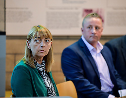 Pictured: Katie's mum, Linda Allan at the press conference, supported by Katie's dad Stuart Allan.<br /> <br /> The family of Katie Allan, who committed suicide in Polmont Young Offenders Institute in June after pleading guilty to drink driving and causing injury thru dangerous driving, launched a campaign calling for more awareness of mental health issues within the justice system, after it was claimed the 21 year old suffered daily bullying leading up to her death.<br /> <br /> &copy; Dave Johnston / EEm