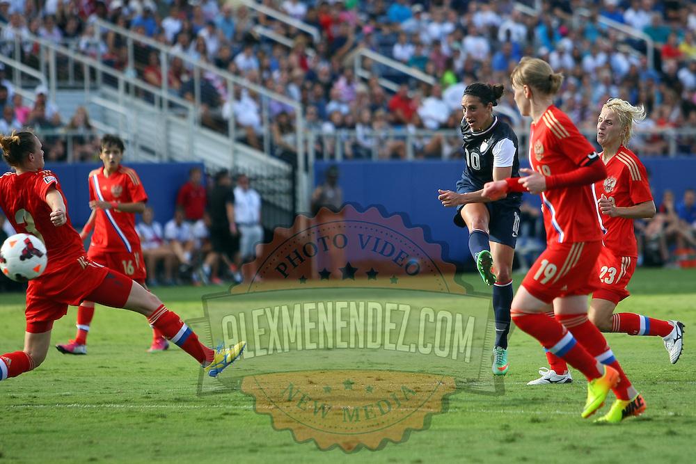 U.S. midfielder Carli Lloyd (10) scores a goal during an international friendly soccer match between the United States Women's National soccer team and the Russia National soccer team at FAU Stadium on Saturday, February 8, in Boca Raton, Florida. (AP Photo/Alex Menendez)