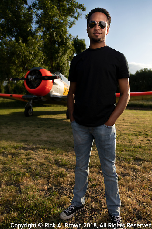 Bryan Harper - farmer, pilot - with his Harvard.