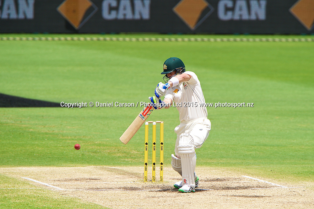 Peter Nevill of Australia plays a cut shot during Day 5 on the 17th of November 2015. The New Zealand Black Caps tour of Australia, 2nd test at the WACA ground in Perth, 13 - 17th of November 2015.   Photo: Daniel Carson / www.photosport.nz
