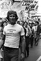 Gay Pride March through central London 1976  fighting for equal rights for homosexuals