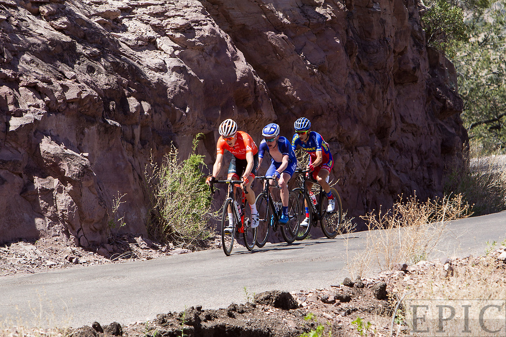 SILVERY CITY, NM - APRIL 18: Robert Britton (Rally Cycling), Gavin Mannion (UnitedHealthcare Pro Cycling) and Oscar Eduardo Snchez Guarn (Canel's-Specialized) lead up the final climb on stage 1 of the Tour of The Gila on April 18, 2018 in Silver City, New Mexico. (Photo by Jonathan Devich/Epicimages.us)