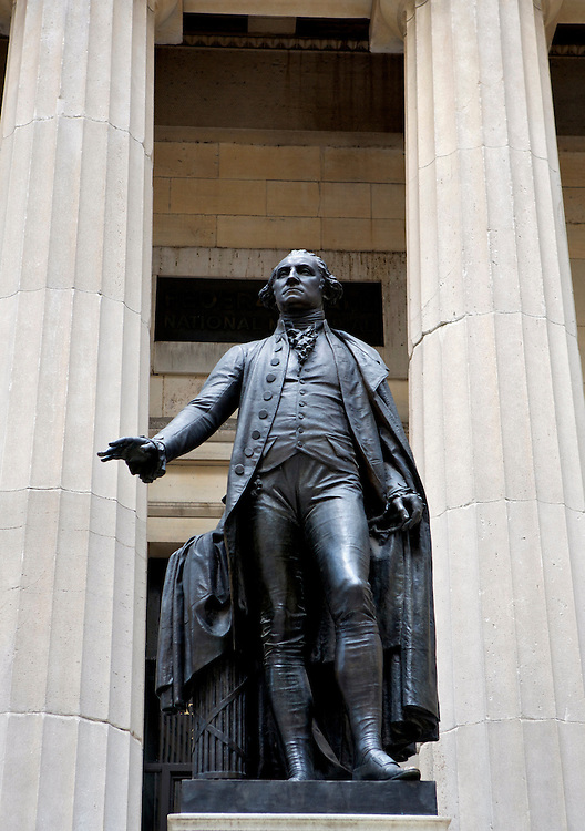 UNITED STATES-NEW YORK-Federal Hall on Wall Street. PHOTO: GERRIT DE HEUS.VERENIGDE STATEN-NEW YORK. Federal Hall op Wall Street met het standbeeld van George Washington ervoor. PHOTO COPYRIGHT GERRIT DE HEUS