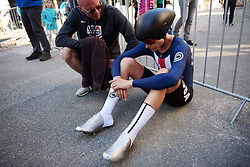 Tayler Wiles (USA) recovers after UCI Road World Championships 2018 - Elite Women's ITT, a 27.7 km individual time trial in Innsbruck, Austria on September 25, 2018. Photo by Sean Robinson/velofocus.com