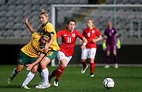 Fifa Womans World Cup Canada 2015 - Preview //<br /> Cyprus Cup 2015 Tournament ( Gsp Stadium Nicosia - Cyprus ) - <br /> Australia vs England 0-3   //  Karen Carney of England (R) , challenges with Lisa De Vanna (11) and Larissa Crummer (26) of Australia