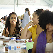 DECEMBER 1, 2017---HUMACAO, PUERTO RICO--<br /> Social work student Frances Jimenez, 22, during a discussion at the University of Puerto Rico's Humacao campus under temporary tents just outside the normal classrooms. Hurricane Maria damaged a lot of the structures and the school runs on generators since the power has not been restored.<br /> (PHOTO BY ANGEL VALENTIN/FREELANCE)