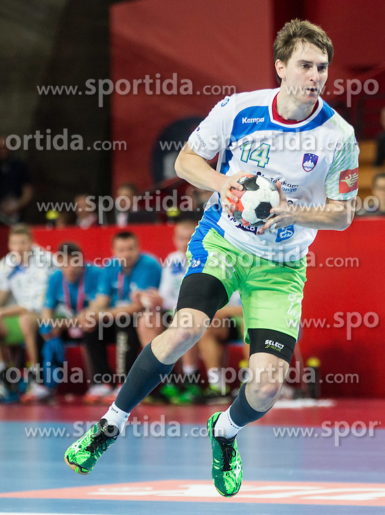 Sebastijan Skube of Slovenia during handball match between National teams of Germany and Slovenia on Day 6 in Preliminary Round of Men's EHF EURO 2016, on January 20, 2016 in Centennial Hall, Wroclaw, Poland. Photo by Vid Ponikvar / Sportida