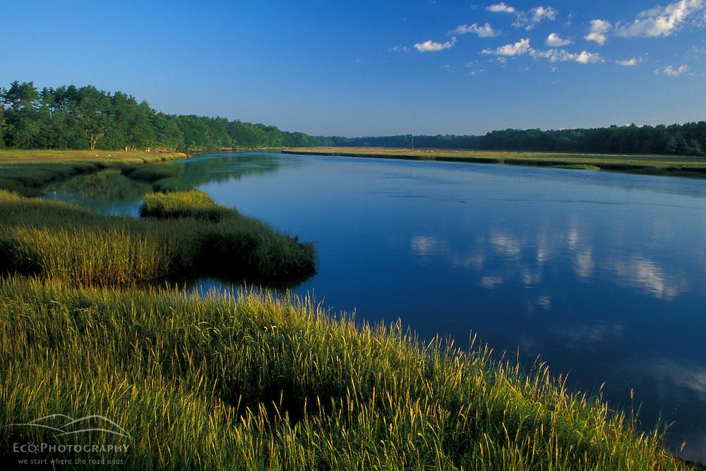 Kennebunk, ME..The Mousam River and the Rachel Carson National Wildlife Refuge. Salt marsh.  Tidal river.