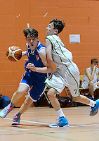 21 Aug 2016:  James Cummins, right, Moycullen, in action against Reece McConigle, Malahide.  Boys U16 Basketball final, Malahide, Dublin v Moycullen, Galway. 2016 Community Games National Festival 2016.  Athlone Institute of Technology, Athlone, Co. Westmeath. Picture: Caroline Quinn