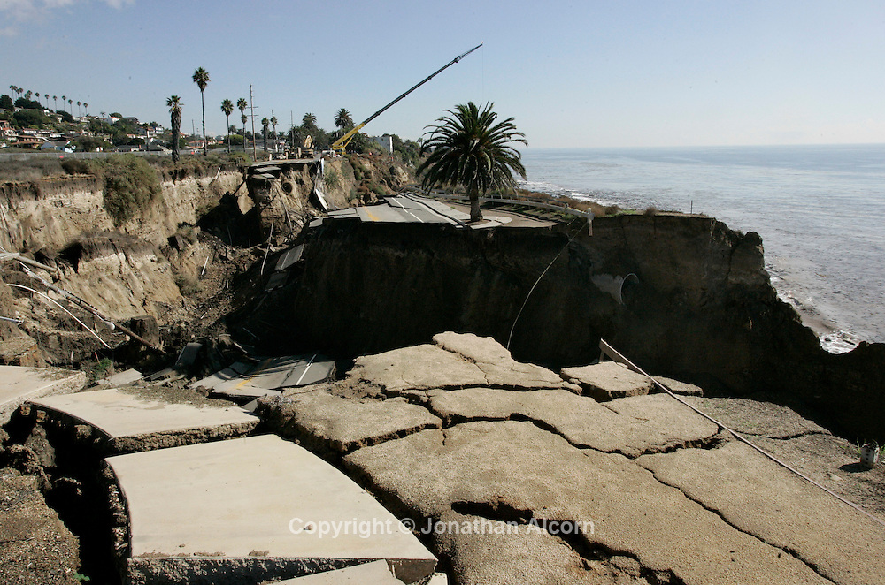 A view of the scene after heavy weekend rains caused a portion of the cliffside and roadway on Paseo del Mar in to collapse into the ocean in San Pedro, California. No one was hurt and no structures were damaged as a result of the slide