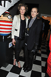Left to right, sisters EMILY MORGAN and artist POLLY MORGAN at a champagne reception to launch The Big Egg Hunt presented by Faberge in aid of the charities Action for Children and Elephant Family held at 29 Portland Place, London on 18th January 2012.