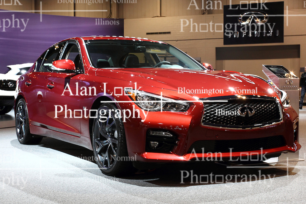 "12 February 2015: 2015 INFINITI Q50: Now in its second year, the Infiniti Q50 sports sedan will be on display at the 2015 Chicago Auto Show, Feb.14-22. Offered in ten models, the Q50 can be order with rear-wheel or Intelligent all-wheel drive configurations. There are two advanced powertrains to select from, starting with the refined 3.7-liter aluminum-alloy DOHC 24-valve V-6, rated at 328 horsepower. An available hybrid features Infiniti's Direct Response Hybrid system that combines a 3.5L DOHC aluminum-alloy V-6 and compact laminated lithium-ion battery design and one-motor/two-clutch motor control. The system's V-6 is rated at 296 horsepower, while the advanced 50 kW electric motor is rated at 67 horsepower. The hybrid system net power is 354 horsepower, providing strong acceleration and lean fuel economy. Both Q50 powertrains are matched with an advanced seven-speed electronically controlled automatic transmission with manual shift mode and available steering column-mounted magnesium paddle shifters. Offering a sense of ""my car knows me,"" the i-Key system can recognize each driver and automatically engage pre-set preferences for driving position, heating and cooling, audio, navigation and telematics. Other features include dual-zone automatic temperature control, Bluetooth hands-free phone system, rear view monitor and available Plasmacluster air purifier and around view monitor with moving object detection. Driver-oriented five-passenger cabin is available with leather-appointed seating surfaces, ""Kacchu"" aluminum trim and available ""Fukiurushi"" maple wood trim. Three interior colors are offered: Wheat, Graphite and Stone. Effective luggage space is 18.0 cubic feet with the 3.7L V-6 and 14.1 cu. ft. with the hybrid powertrain.<br /> <br /> First staged in 1901, the Chicago Auto Show is the largest auto show in North America and has been held more times than any other auto exposition on the continent. The 2015 show marks the 107th edition of the Chicago Auto Show. It has be"