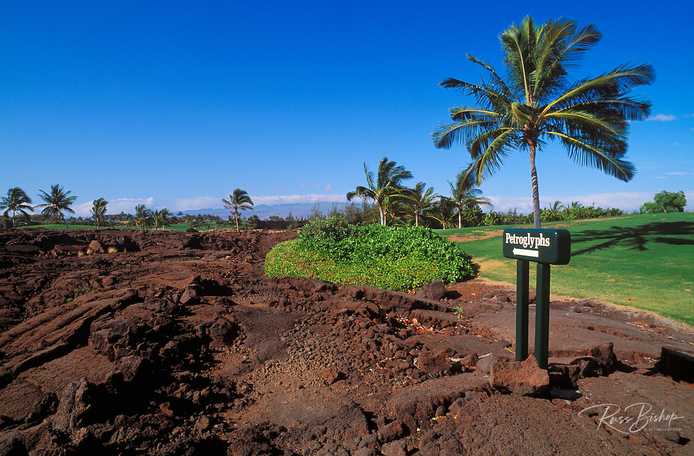 Sign marking the Kings Trail and ancient Hawaiian petroglyphs, Waikoloa, The Big Island, Hawaii