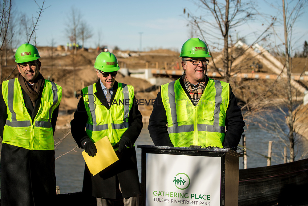 1/12/18 11:04:55 AM -- Halliburton CEO Jeff Miller and George Kaiser visit the Gathering Place for a press conference announcing Halliburton's support for the park. <br /> <br /> Photo by Shane Bevel